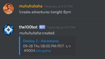 The Division 2 Discord Bot Create