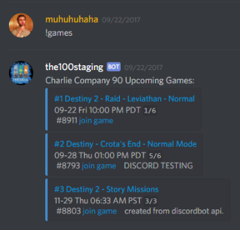 The Division 2 Discord Bot LFG